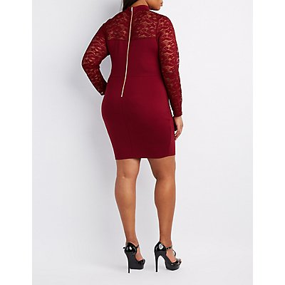 Plus Size Lace-Sleeve Bodycon Dress