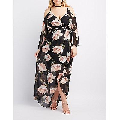 plus size cold shoulder maxi dress - gaussianblur