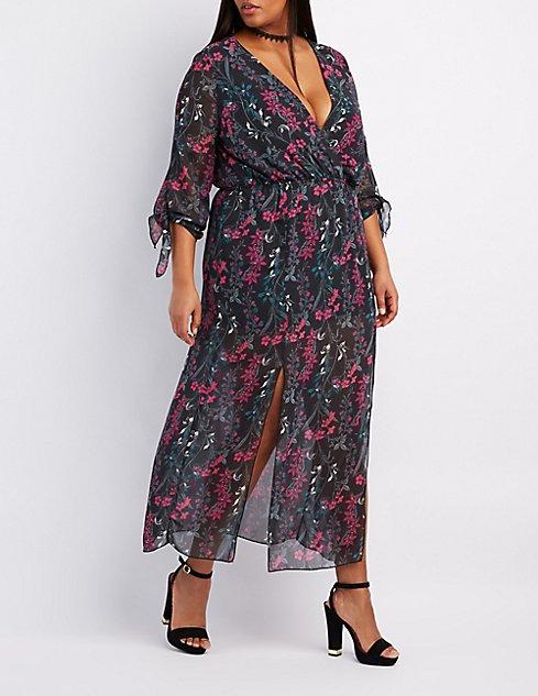 Plus Size Floral V-Neck Maxi Dress | Charlotte Russe