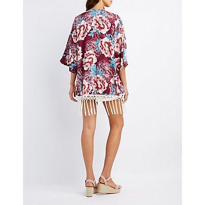 Floral Fringe-Hem Kimono