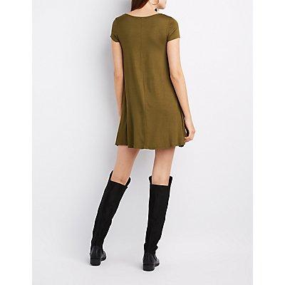 Scoop Neck Trapeze Shift Dress