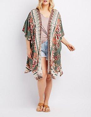 Plus Size Medallion Print Kimono Duster