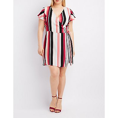 Plus Size Striped Surplice Wrap Dress