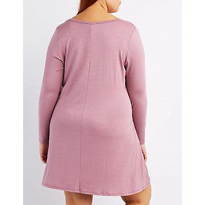 Plus Size Lattice-Front Shift Dress