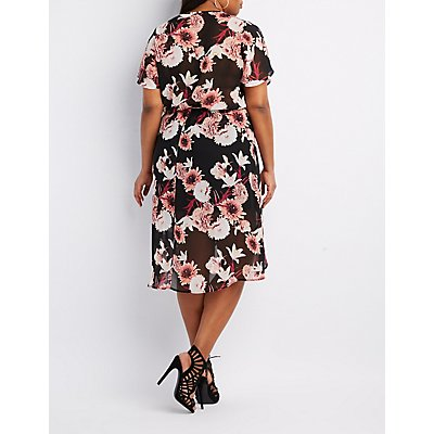 Plus Size Floral Midi Wrap Dress