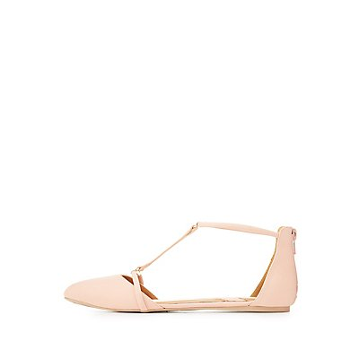 Qupid Metal-Tipped T-Strap Flats