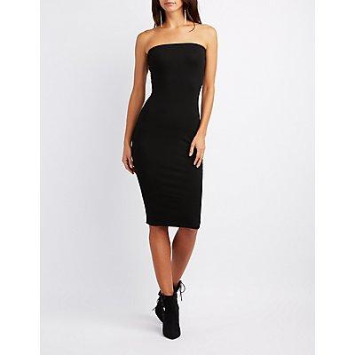 Ribbed Strapless Midi Dress