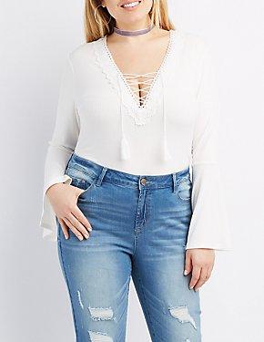 Plus Size Crochet-Trim Lace-Up Bell Sleeve Bodysuit