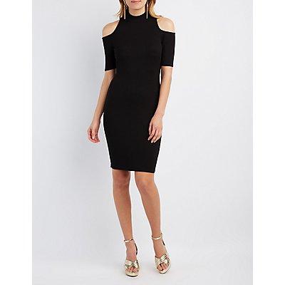 Ribbed Mock Neck Cold Shoulder Dress