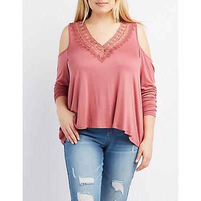 Plus Size Crochet-Trim Cold Shoulder Top