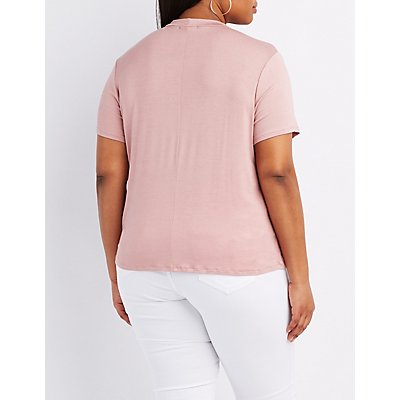 Plus Size Caged Mock Neck Boyfriend Tee