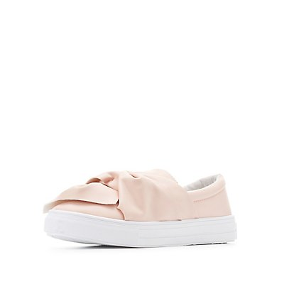 Qupid Knotted Faux Leather Sneakers
