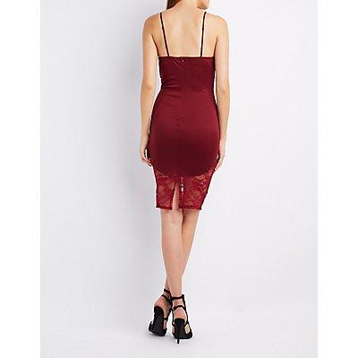 Lace-Trim Bodycon Midi Dress