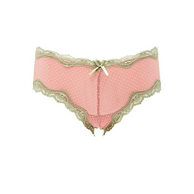 Dotted Lace-Up Cheeky Panties