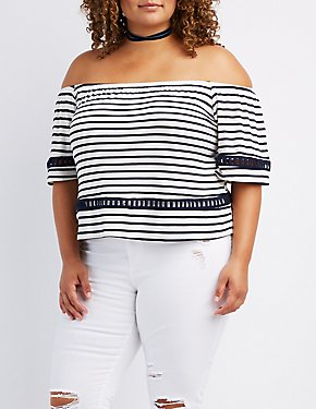 Plus Size Crochet-Inset Off-The-Shoulder Top