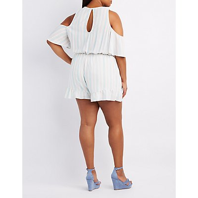 Plus Size Striped Ruffle-Trim Cold Shoulder Romper