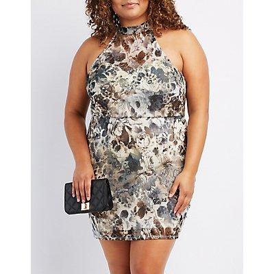 Plus Size Floral Mock Neck Bodycon Dress