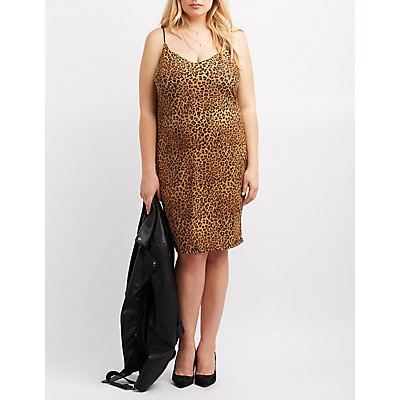 Plus Size Leopard Bodycon Midi Dress