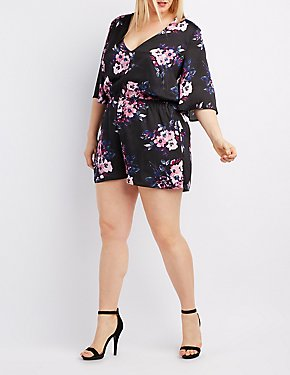 Plus Size Floral Kimono Sleeve Romper