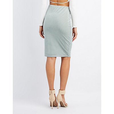 Striped Velvet Pencil Skirt