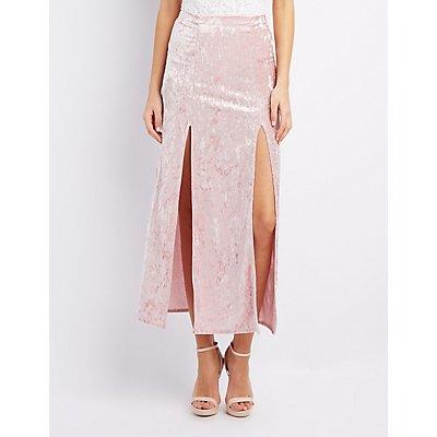 Velvet Double Slit Maxi Skirt