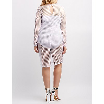 Plus Size Fishnet Mesh Bodycon Dress
