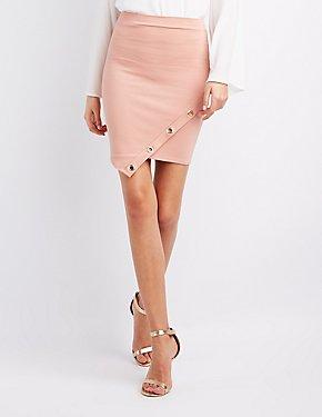 Grommet-Trim Asymmetrical Skirt