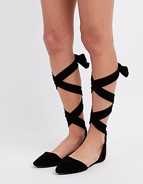 Bamboo Lace-Up Ankle Flats