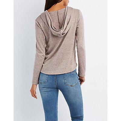 Marled Strappy Caged Hoodie