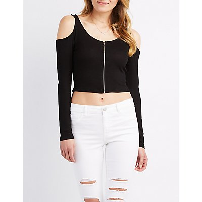 Ribbed Cold Shoulder Zip-Up Top