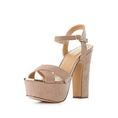 Bamboo Chunky Heel Platform Sandals