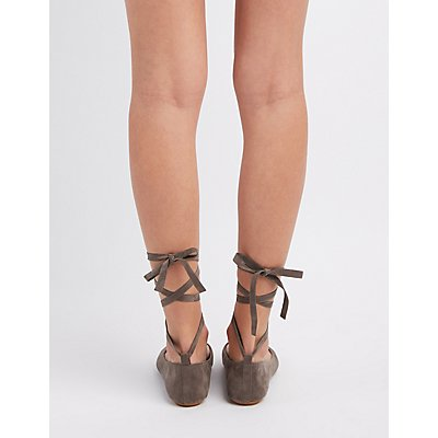 Bamboo Lace-Up Ballet Flats