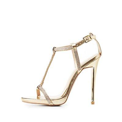 Qupid Embellished T-Strap Sandals