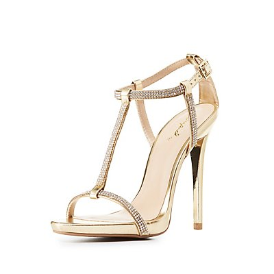 Qupid Embellished T-Strap Sandals
