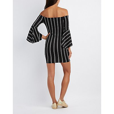 Striped Off-The-Shoulder Bodycon Dress