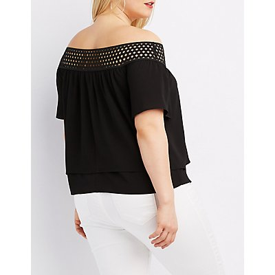 Plus Size Off-The-Shoulder Tiered Top