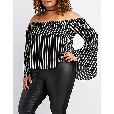 Plus Size Striped Off-The-Shoulder Bell Sleeve Top
