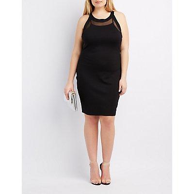 Plus Size Mesh-Trim Bodycon Dress