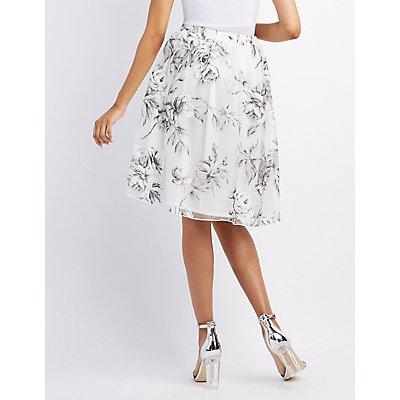 Floral Organza Midi Skirt
