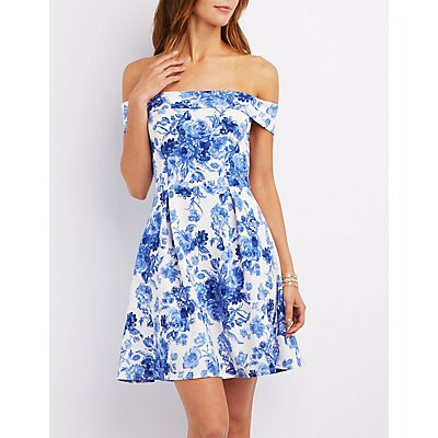 Floral Off-the-Shoulder Skater Dress