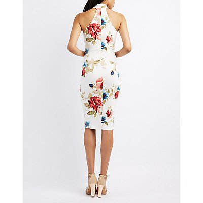 Floral Choker Neck Sweetheart Dress