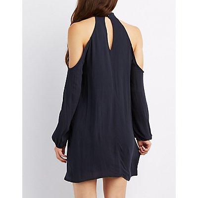 Mock Neck Cold Shoulder Shift Dress
