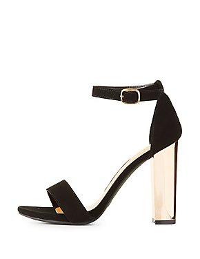 Bamboo Two-Piece Metallic Heel Sandals