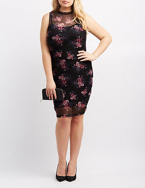 Plus Size Floral Mesh Mock Neck Bodycon Dress   Charlotte Russe