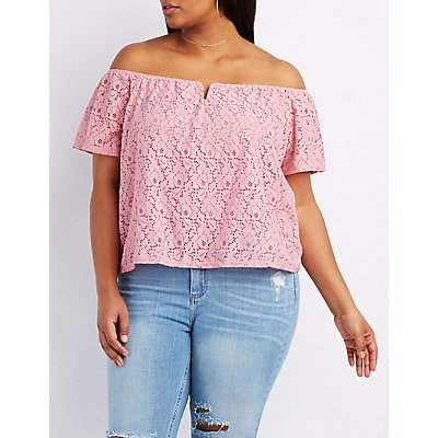 Plus Size Lace Off-The-Shoulder Top