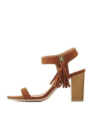Qupid Tassel Chunky Heel Sandals