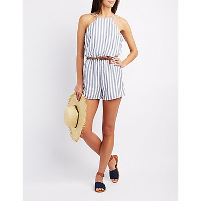 Striped Bib Neck Romper