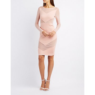 Crew Neck Mesh-Trim Bodycon Dress