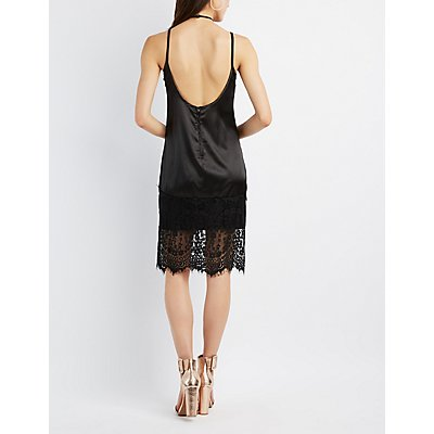 Strappy Lace-Hem Slip Dress