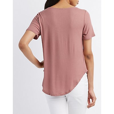 Ribbed Lattice-Front Tee